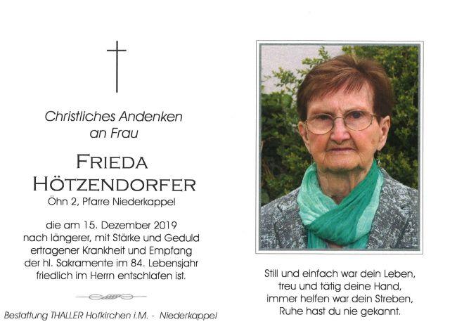 Sterbebild Hötzendorfer Frieda
