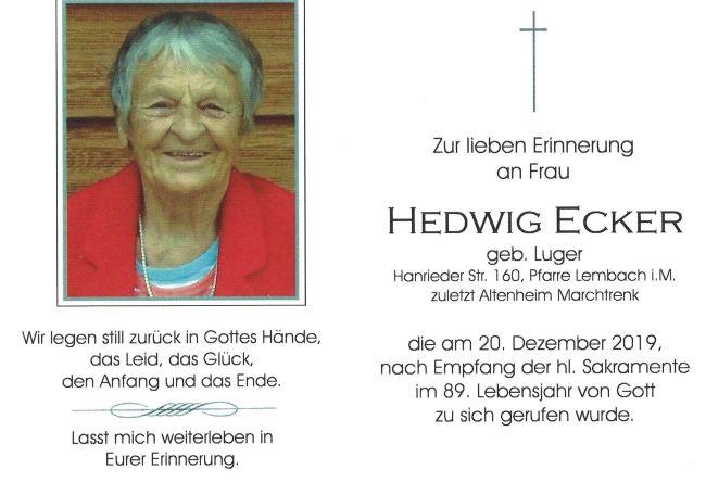 Sterbebild Hedwig Ecker