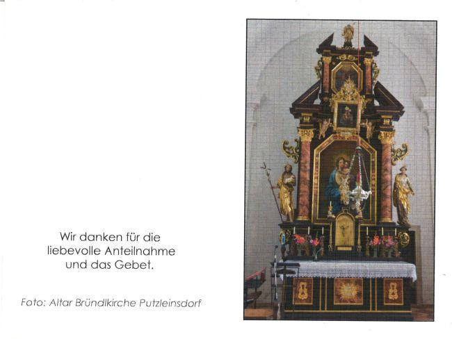 Sterbebild Hubert Wögerbauer Außenseite