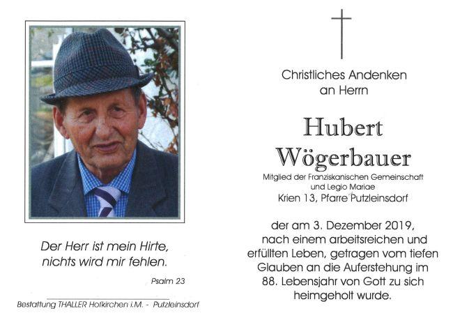 Sterbebild Hubert Wögerbauer