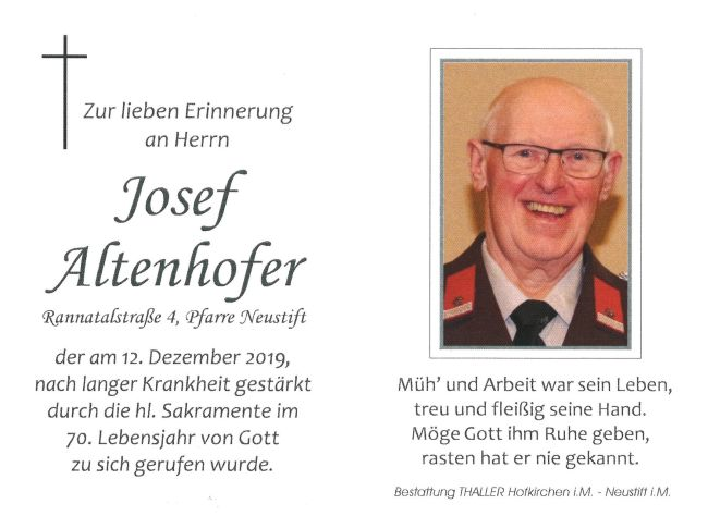 Sterbebild Josef Altenhofer
