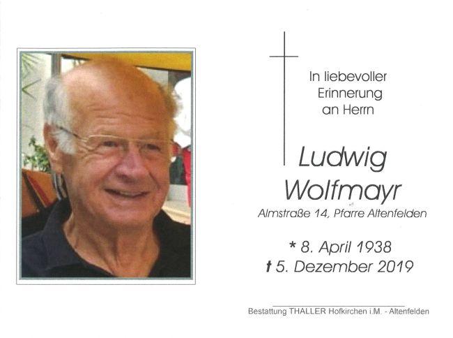 Sterbebild innen Ludwig Wolfmayr