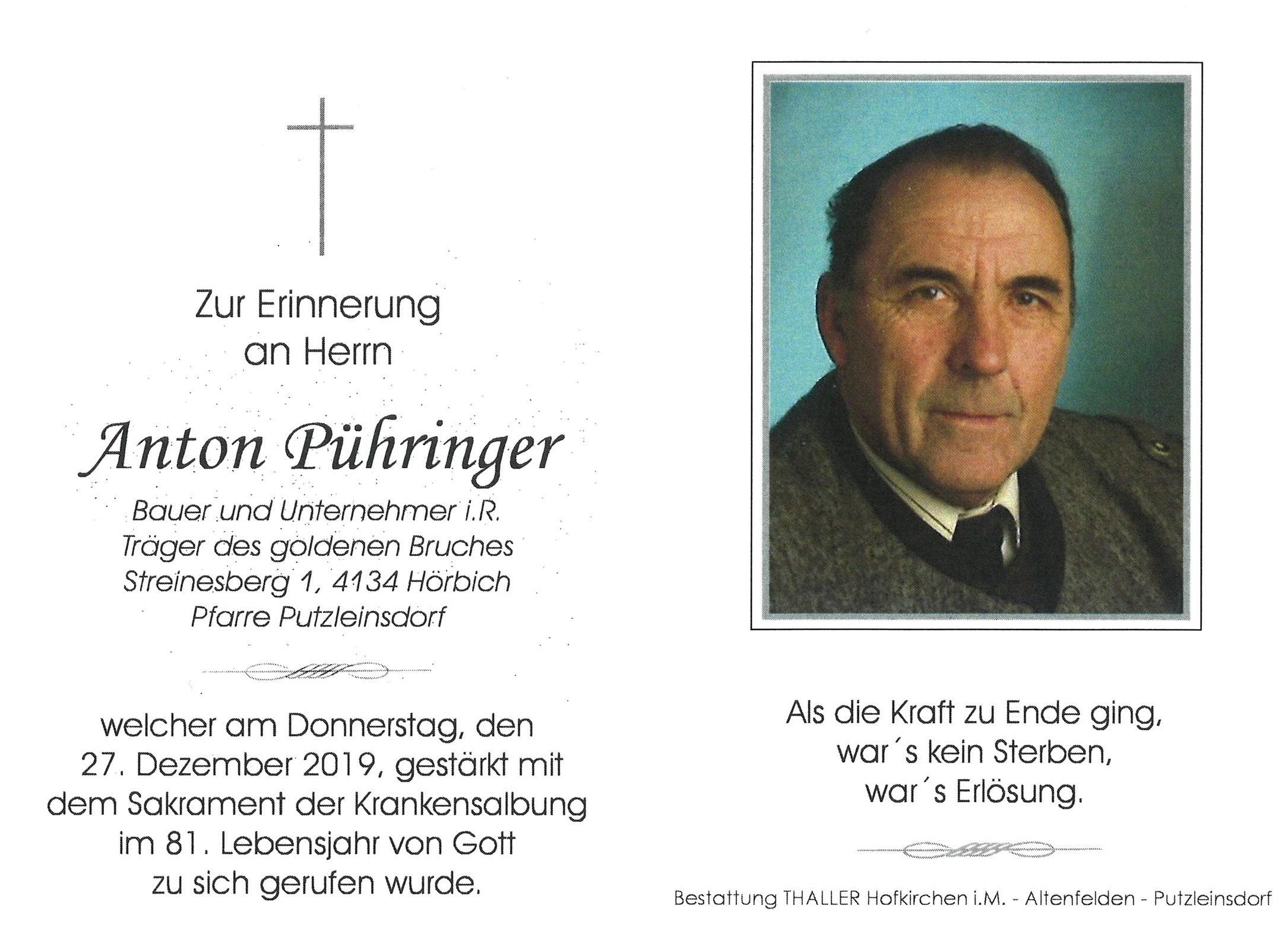 Sterbebild innen Pühringer Manfred