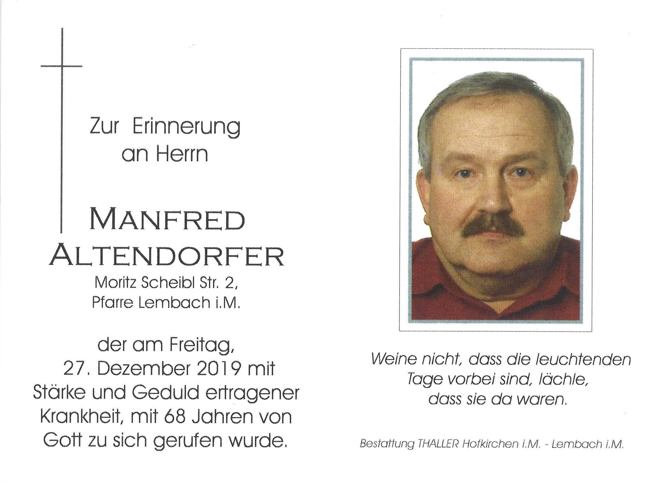 Sterbebild Altendorfer Manfred