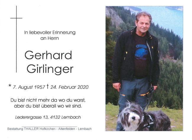 Sterbebild Girlinger Gerhard