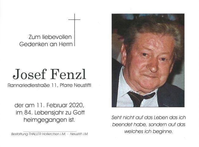 Sterbebild Fenzl Josef