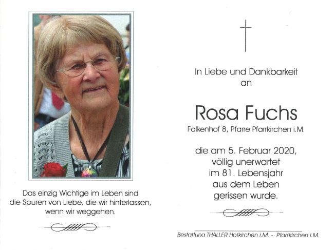 Sterbebild innen Fuchs Rosa