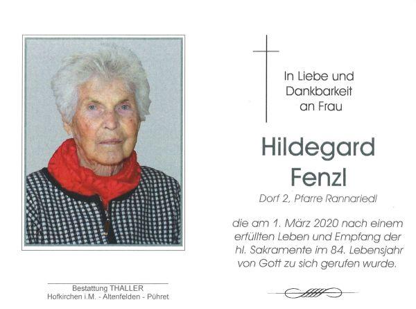 Sterbebild innen Fenzl Hildegard