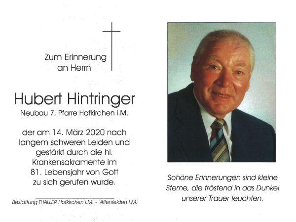 Sterbebild Hintringer Hubert