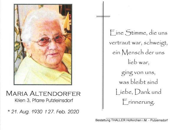 Sterbebild Altendorfer Maria