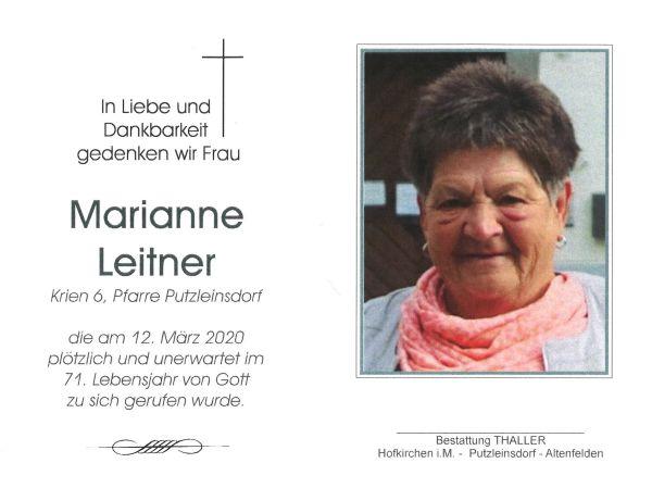 Sterbebild innen Leitner Marianne