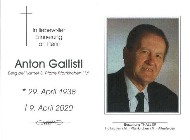 Sterbebild Gallistl Anton
