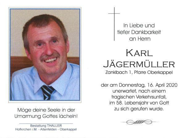 Sterbebild innen Jägermüller Karl