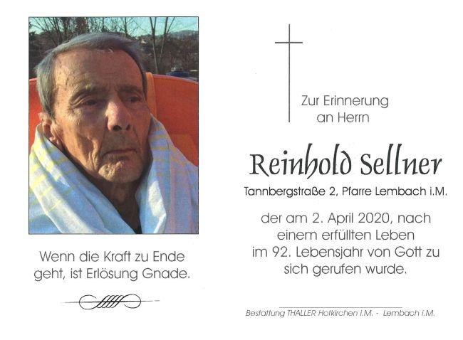 Sterbebild Sellner Reinhold
