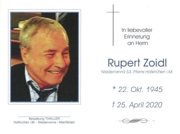Sterbebild Zoidl Rupert