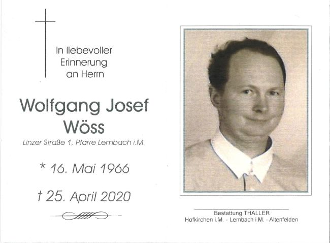 Sterbebild Wöss Wolfgang Josef