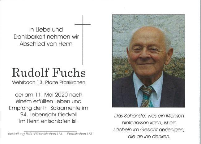 Sterbebild innen Fuchs Rudolf
