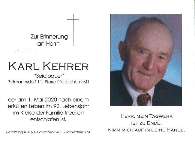 Sterbebild innen Kehrer Karl