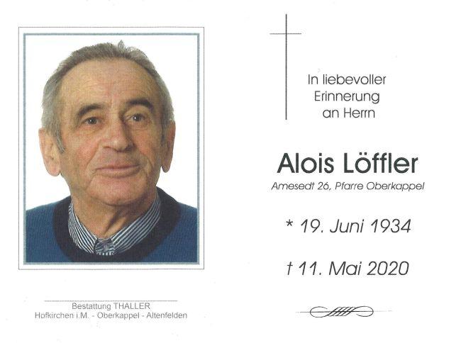 Sterbebild innen Löffler Alois