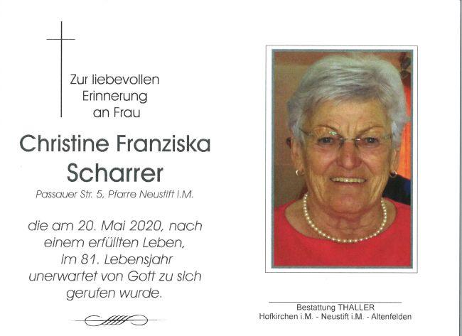 Sterbebild Scharrer Christine Franziska