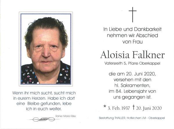 Sterbebild Falkner Aloisia