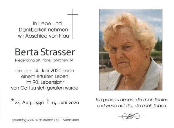 Sterbebild innen Strasser Berta