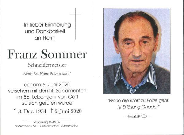 Sterbebild Sommer Franz