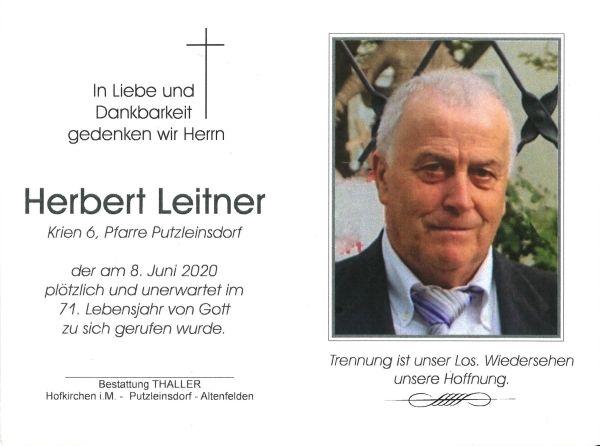 Sterbebild Leitner Herbert