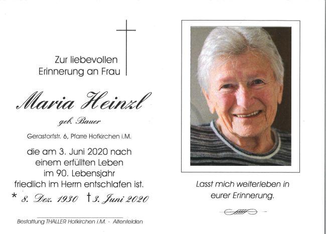 Sterbebild Heinzl Maria