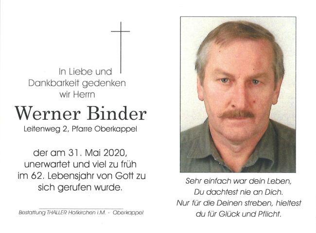 Sterbebild Binder Werner