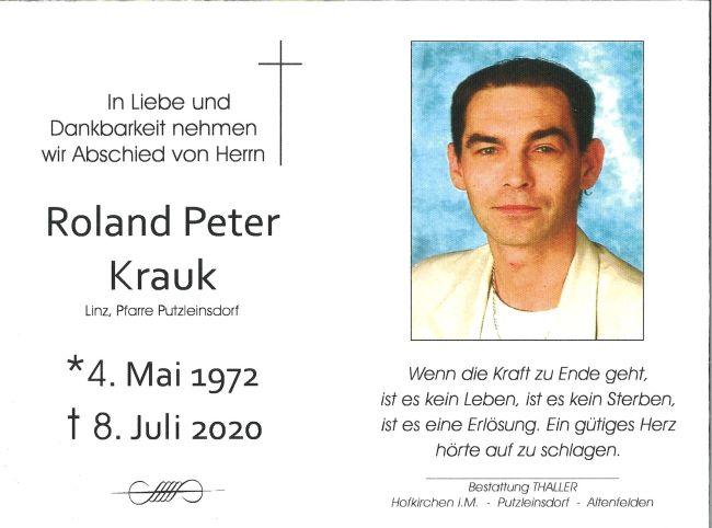 Sterbebild Krauk Roland Peter
