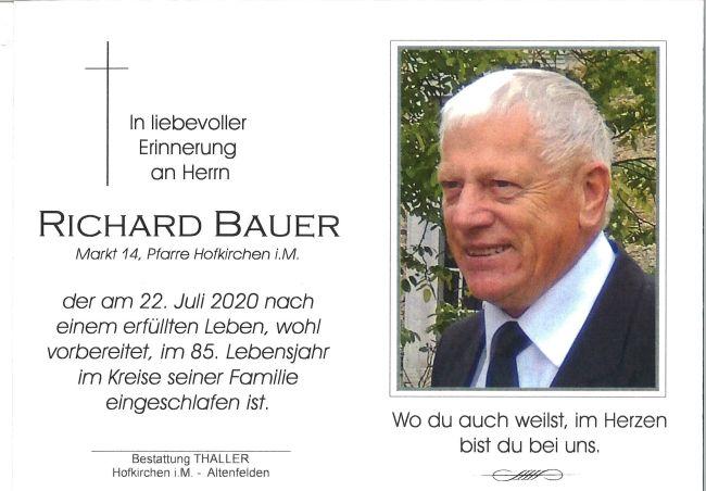 Sterbebild Bauer Richard