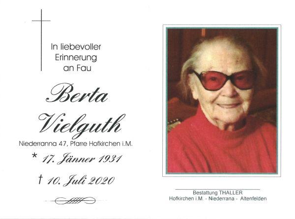 Sterbebild Vielguth Berta