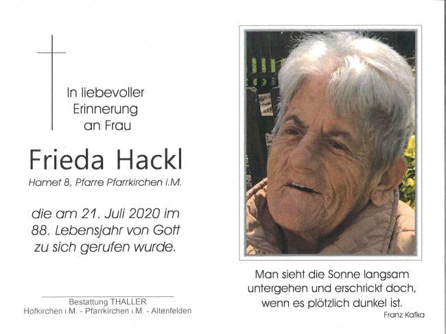 Sterbebild Hackl Frieda