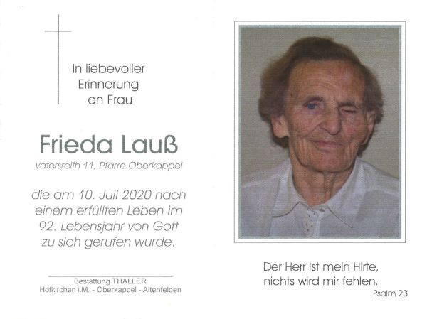 Sterbebild Lauß Frieda