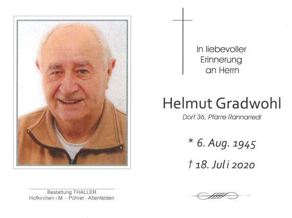 Sterbebild Gradwohl Helmut