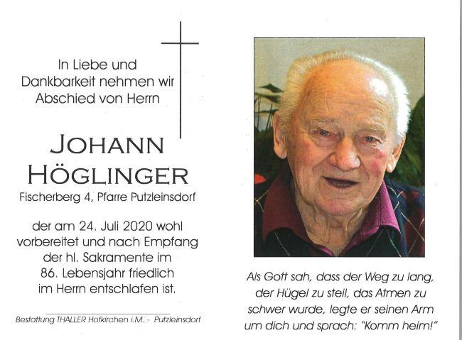 Sterbebild Höglinger Johann