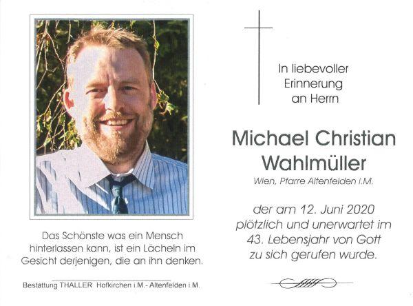 Sterbebild Wahlmüller Michael Christian