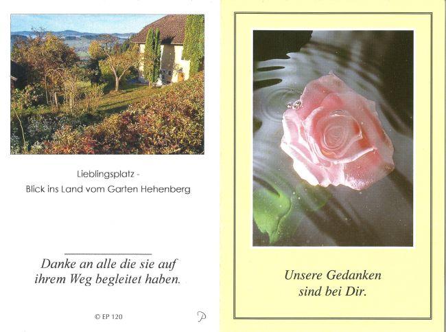 Sterbebild außen Kirchberger Frieda