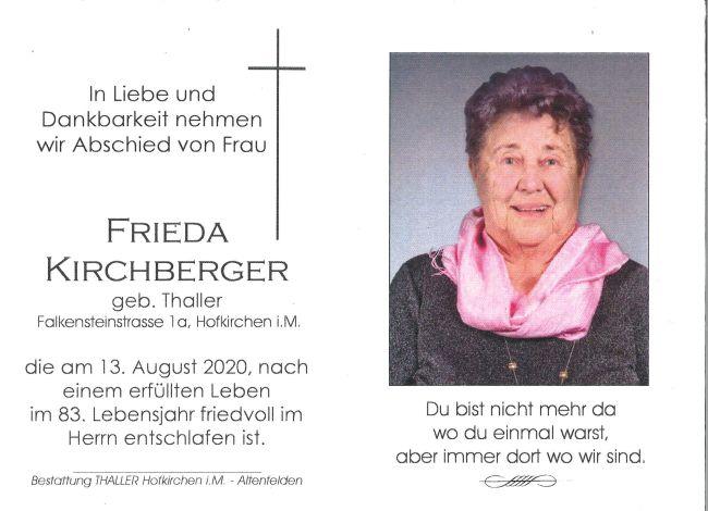 Sterbebild Kirchberger Frieda