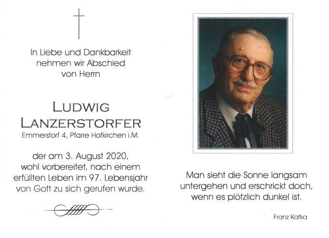 Sterbebild innen Lanzerstorfer Ludwig
