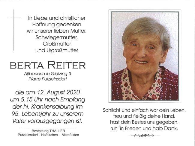 Sterbebild Reiter Berta