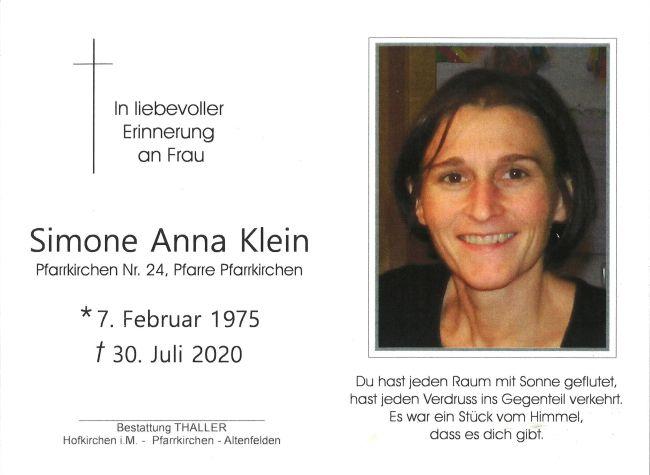 Sterbebild innen Klein Simone Anna
