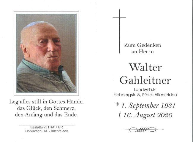Sterbebild Gahleitner Walter