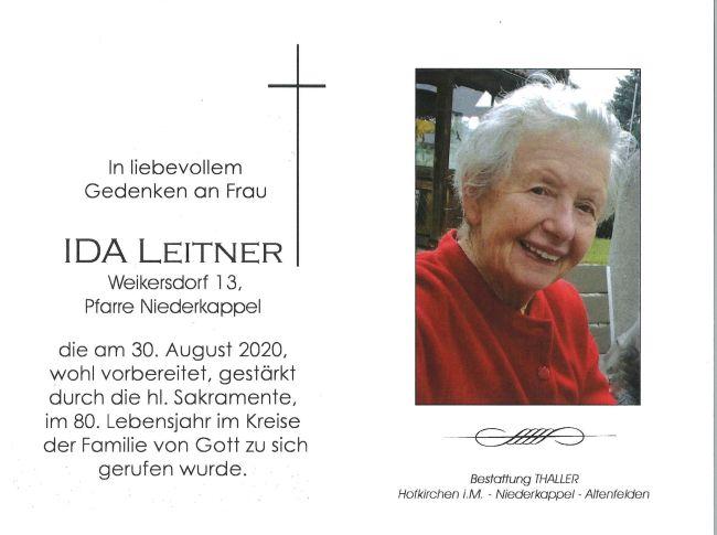 Sterbebild Leitner Ida