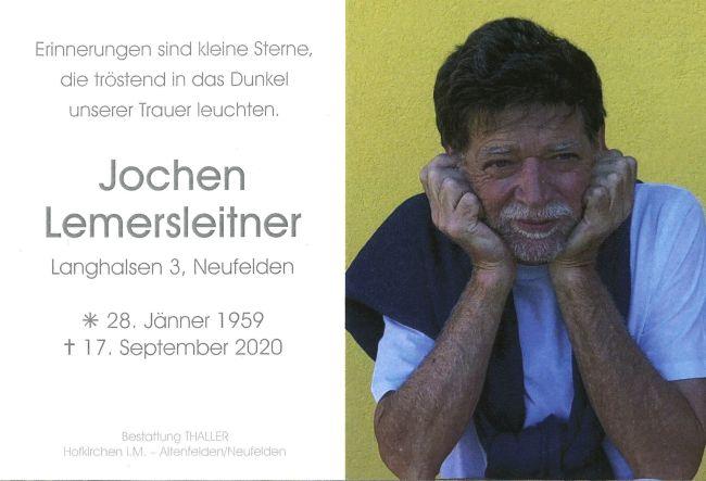 Sterbebild Lemersleitner Jochen