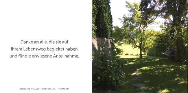 Sterbebild außen Zöchbauer Emilie