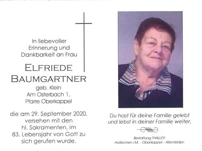 Sterbebild Baumgartner Elfriede