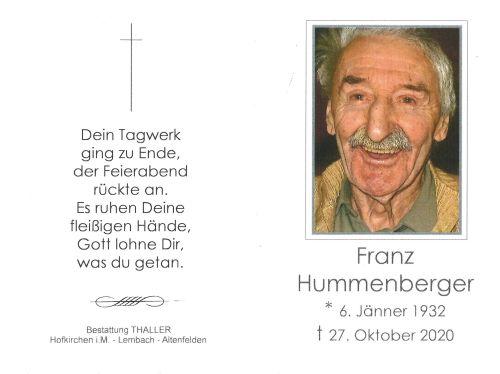 Sterbebild Hummenberger Franz