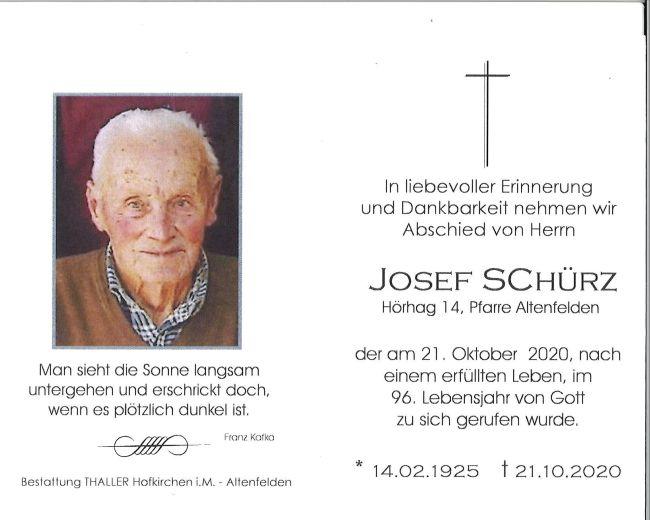 Sterbebild Schürz Josef